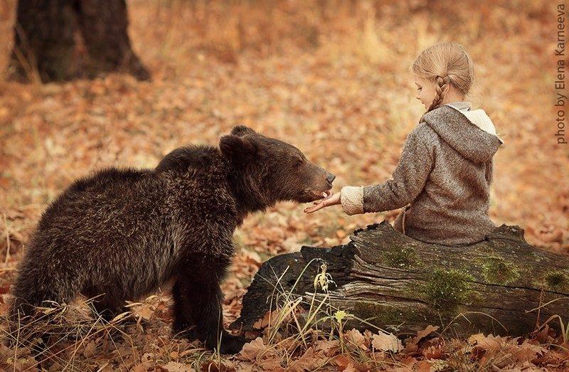 Девочка кормит медвежонка с рук